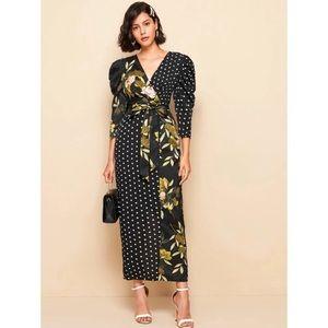 NWT Shein Gigot Sleeve Mixed Print Dress